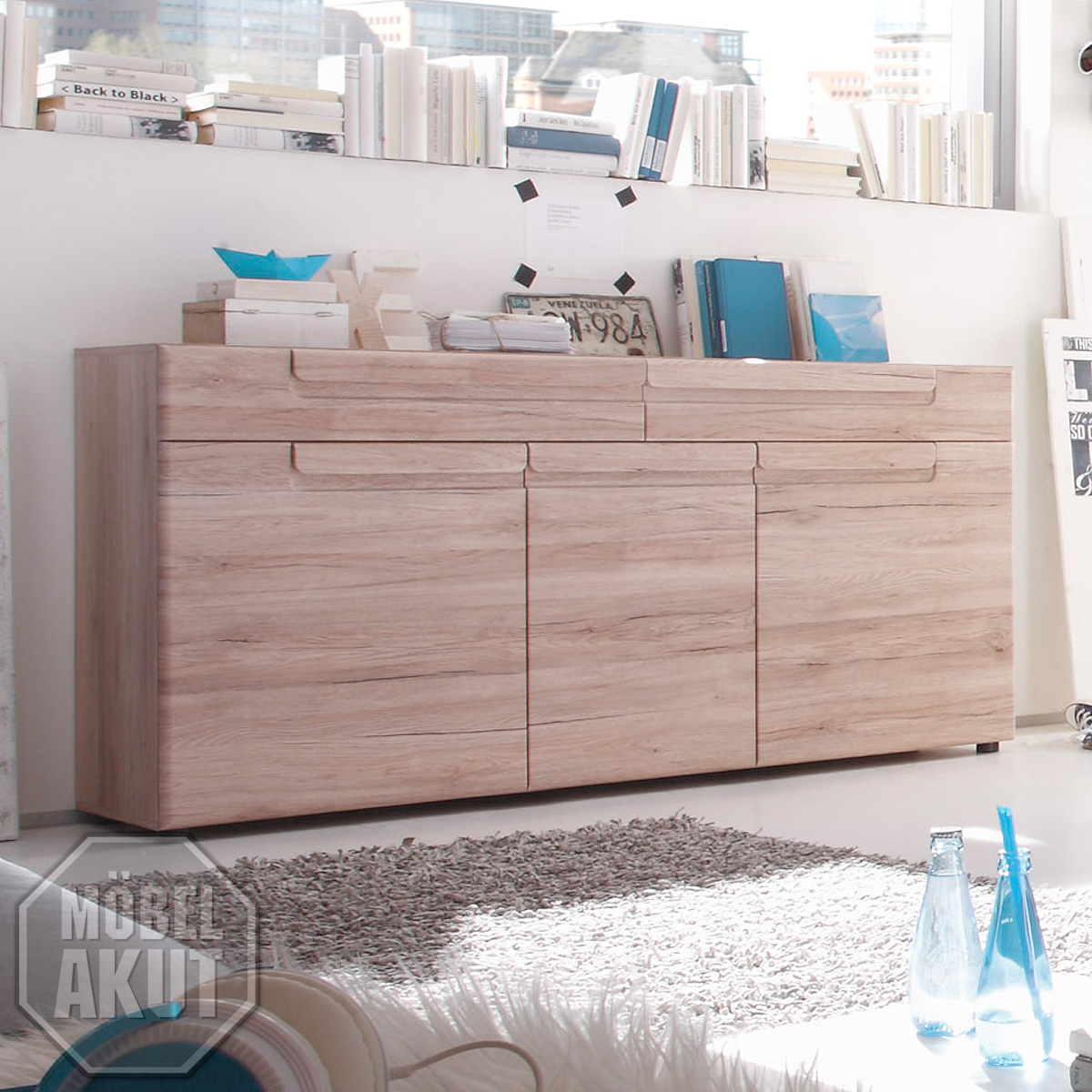 sideboard malea kommode anrichte in san remo eiche hell tiefzieh ebay. Black Bedroom Furniture Sets. Home Design Ideas