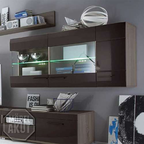 h ngevitrine lounge hochglanz schlamm und sonoma eiche. Black Bedroom Furniture Sets. Home Design Ideas