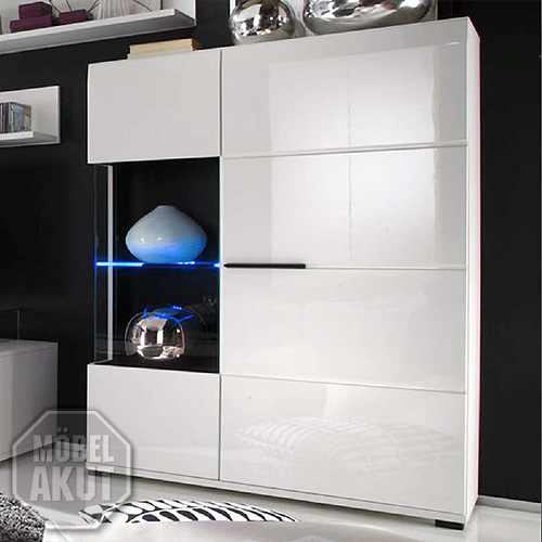 vitrine highboard lounge wohnzimmerschrank hochglanz weiss. Black Bedroom Furniture Sets. Home Design Ideas