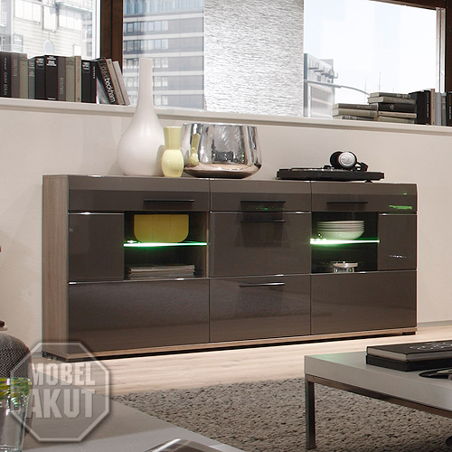 sideboard lounge kommode hochglanz schlamm und sonoma eiche dunkel ebay. Black Bedroom Furniture Sets. Home Design Ideas