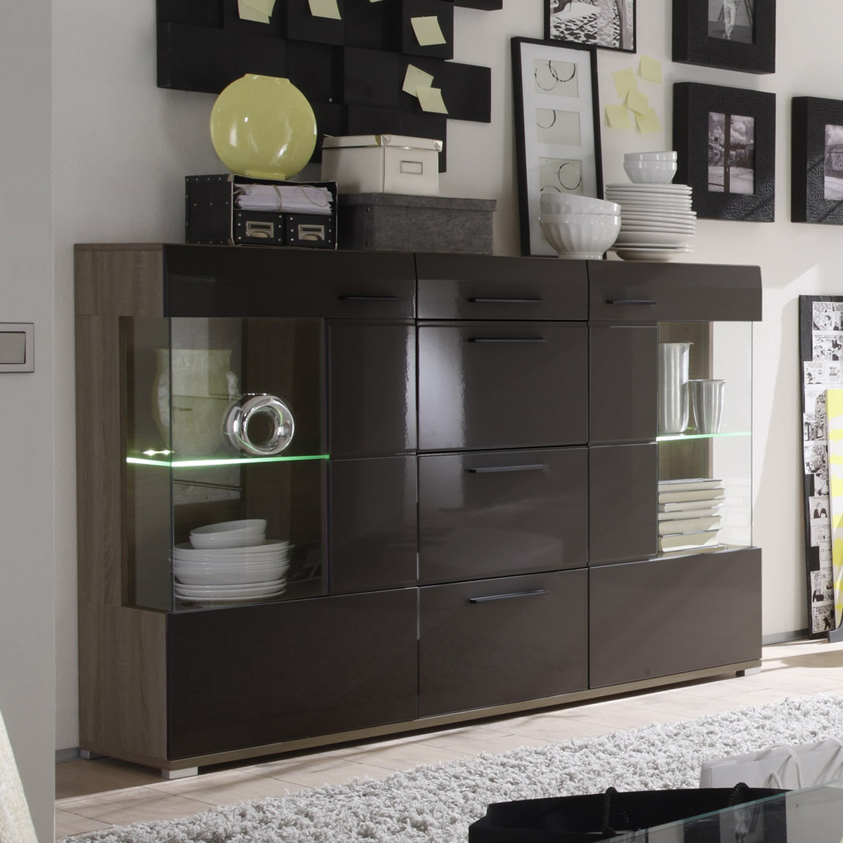 highboard lounge kommode hochglanz schlamm und sonoma eiche dunkel ebay. Black Bedroom Furniture Sets. Home Design Ideas