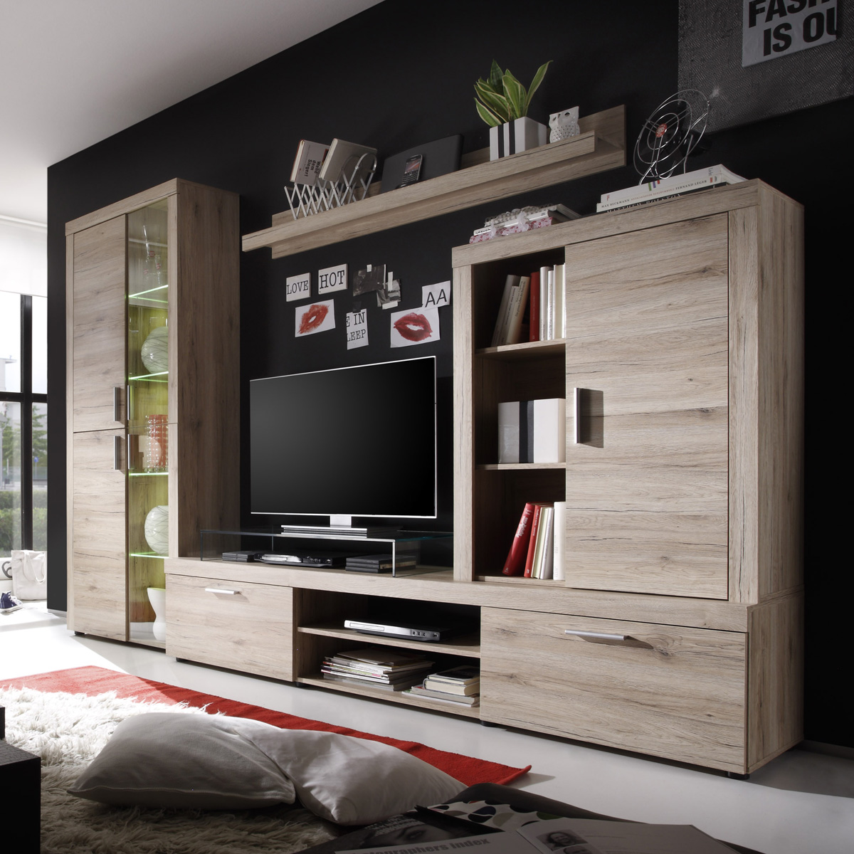 wohnwand havanna anbauwand wohnkombi in san remo eiche. Black Bedroom Furniture Sets. Home Design Ideas