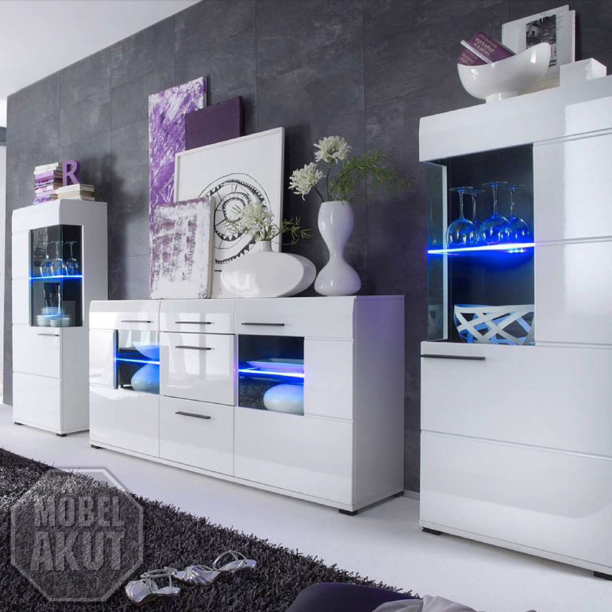 wohnwand lounge anbauwand sideboard vitrine wei hochglanz. Black Bedroom Furniture Sets. Home Design Ideas