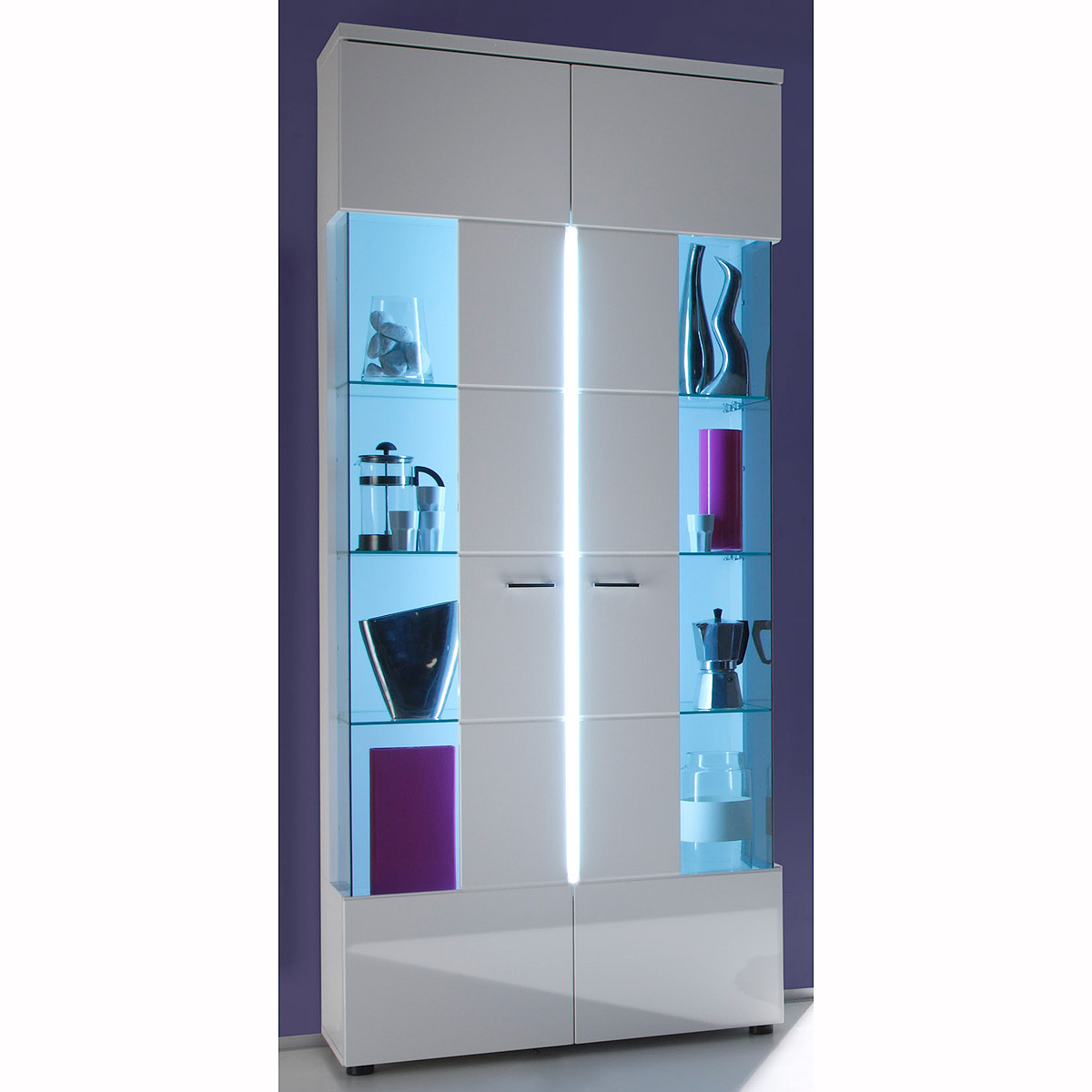 vitrine nightlife glasvitrine in wei hochglanz und glas grau inkl beleuchtung ebay. Black Bedroom Furniture Sets. Home Design Ideas