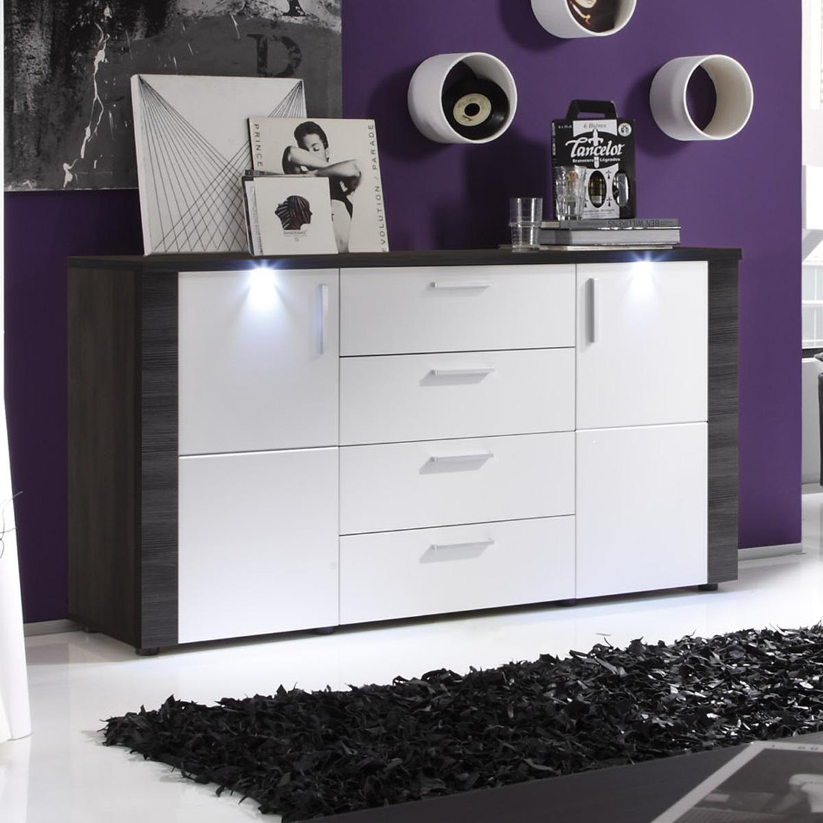 Sideboard xpress in esche grau weiß mit beleuchtung wohnzimmer ...