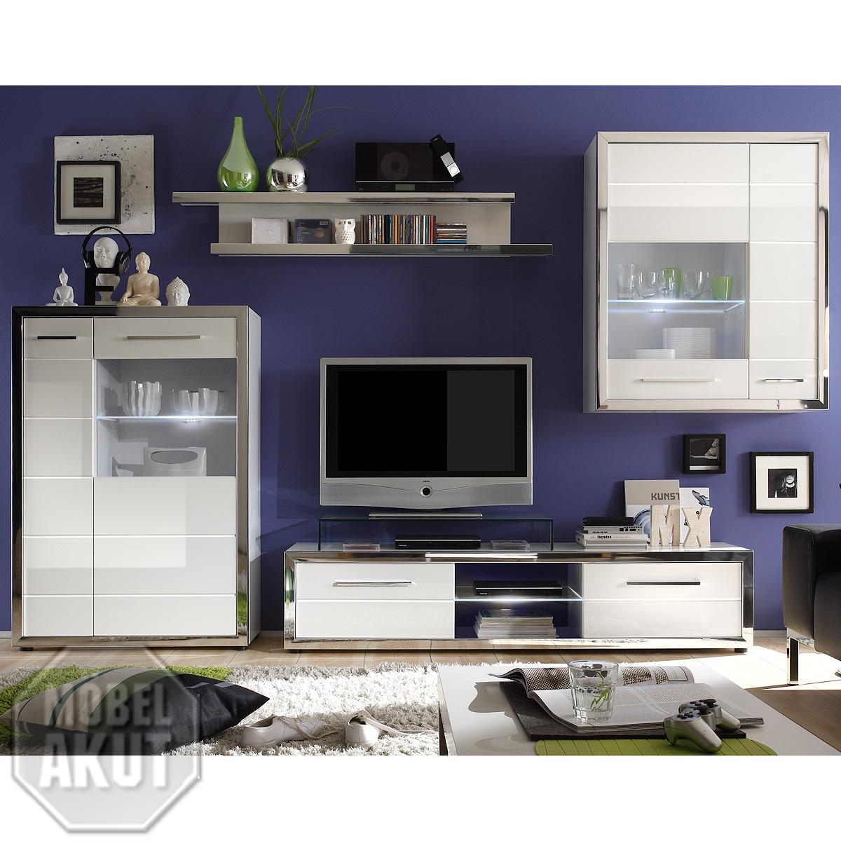 anbauwand ego wohnwand wei hochglanz inkl led ebay. Black Bedroom Furniture Sets. Home Design Ideas
