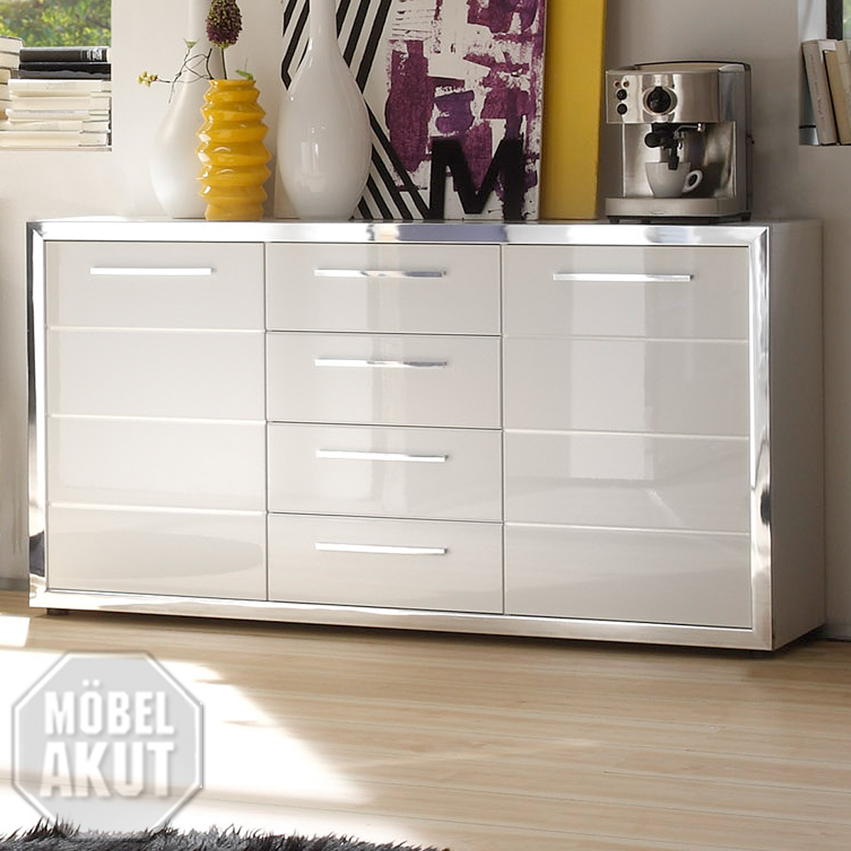 sideboard ego kommode wei hochglanz ebay. Black Bedroom Furniture Sets. Home Design Ideas