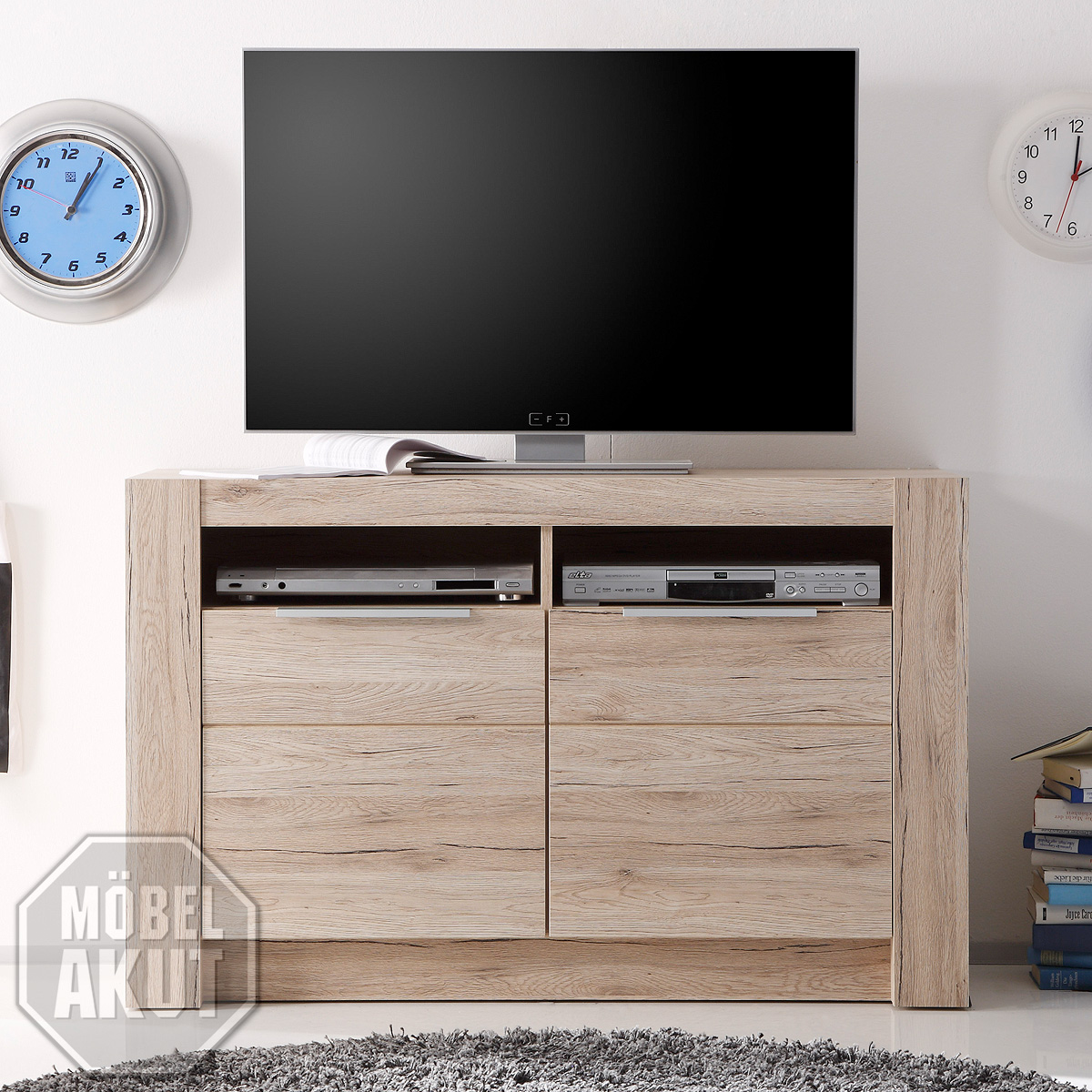 tv m bel konsole tisch schrank elsa 140 cm licht eiche. Black Bedroom Furniture Sets. Home Design Ideas