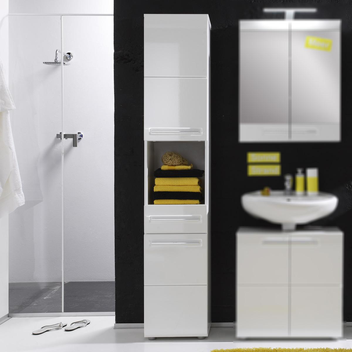 stauraumschrank bora hochschrank schrank badezimmer in wei und wei hochglanz ebay. Black Bedroom Furniture Sets. Home Design Ideas