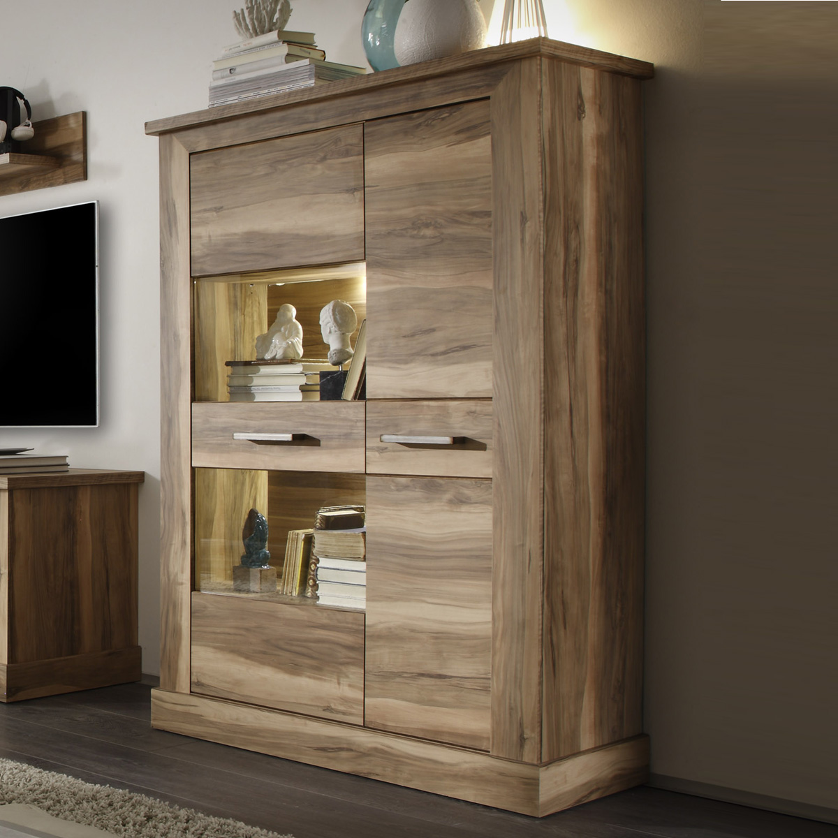 highboard 1 montreal in nussbaum satin schrank vitrine wohnzimmer ebay. Black Bedroom Furniture Sets. Home Design Ideas