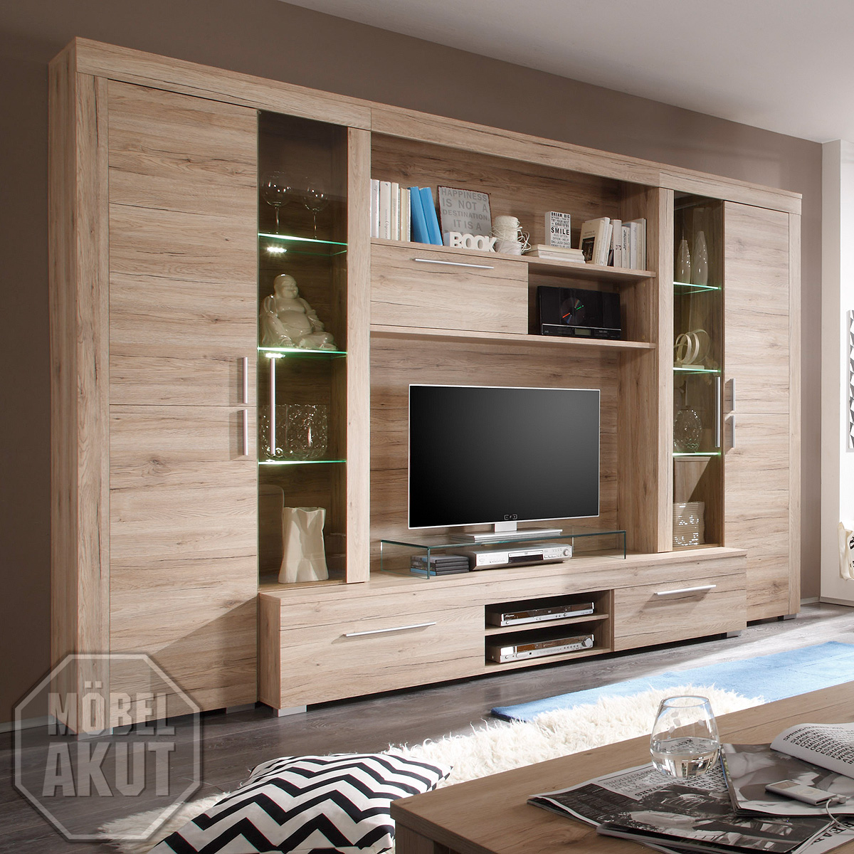 wohnwand boom kuno anbauwand wohnzimmer in sanremo eiche. Black Bedroom Furniture Sets. Home Design Ideas