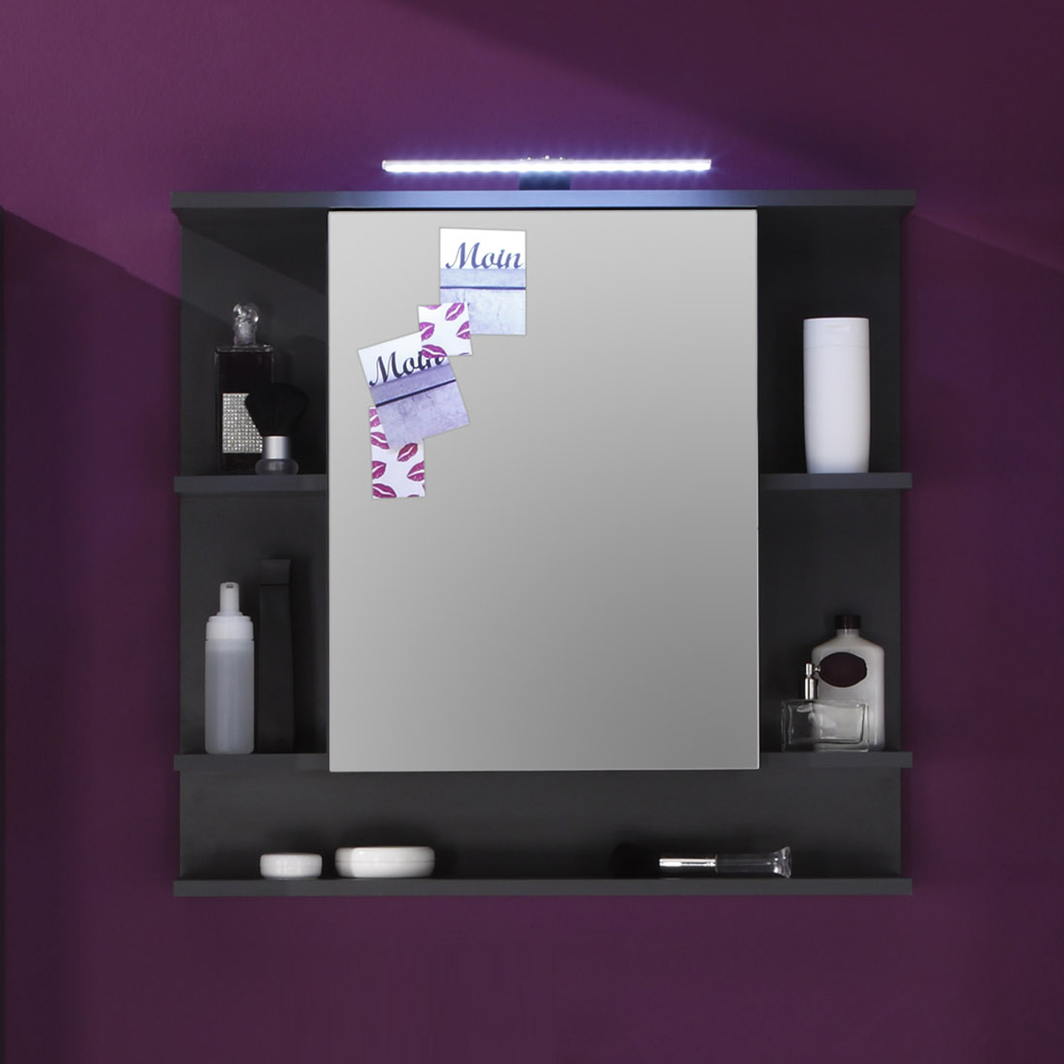 spiegelschrank tetis schrank bad spiegel badm bel badezimmer in graphit ebay. Black Bedroom Furniture Sets. Home Design Ideas