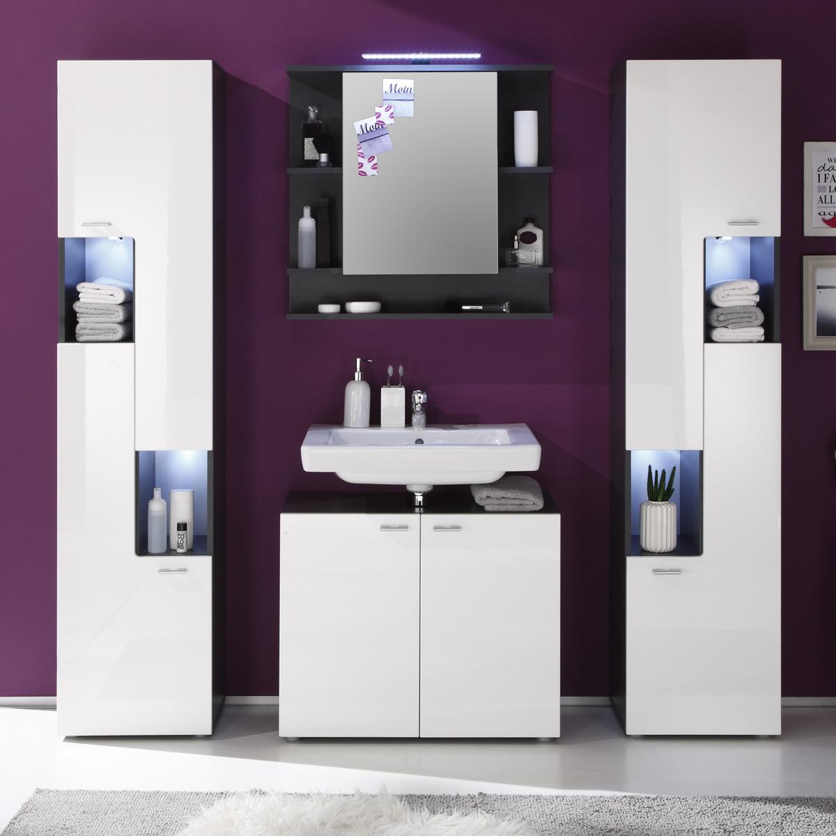 badezimmer set tetis badm bel badezimmerm bel in graphit und wei hochglanz 4tlg ebay. Black Bedroom Furniture Sets. Home Design Ideas