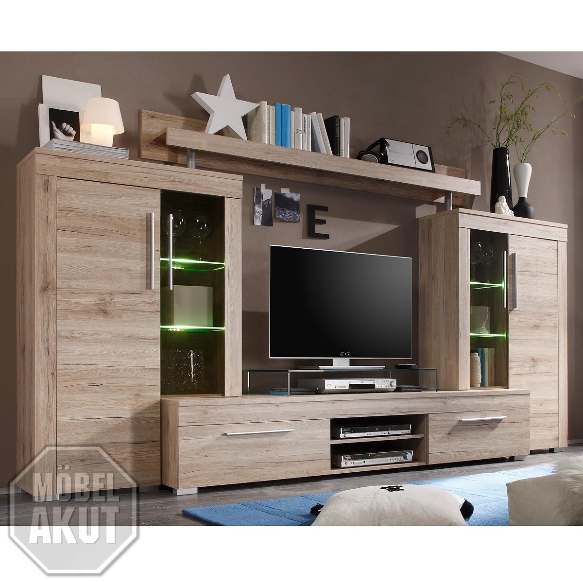 wohnwand 2 boom anbauwand wohnzimmer san remo eiche hell mit beleuchtung ebay. Black Bedroom Furniture Sets. Home Design Ideas
