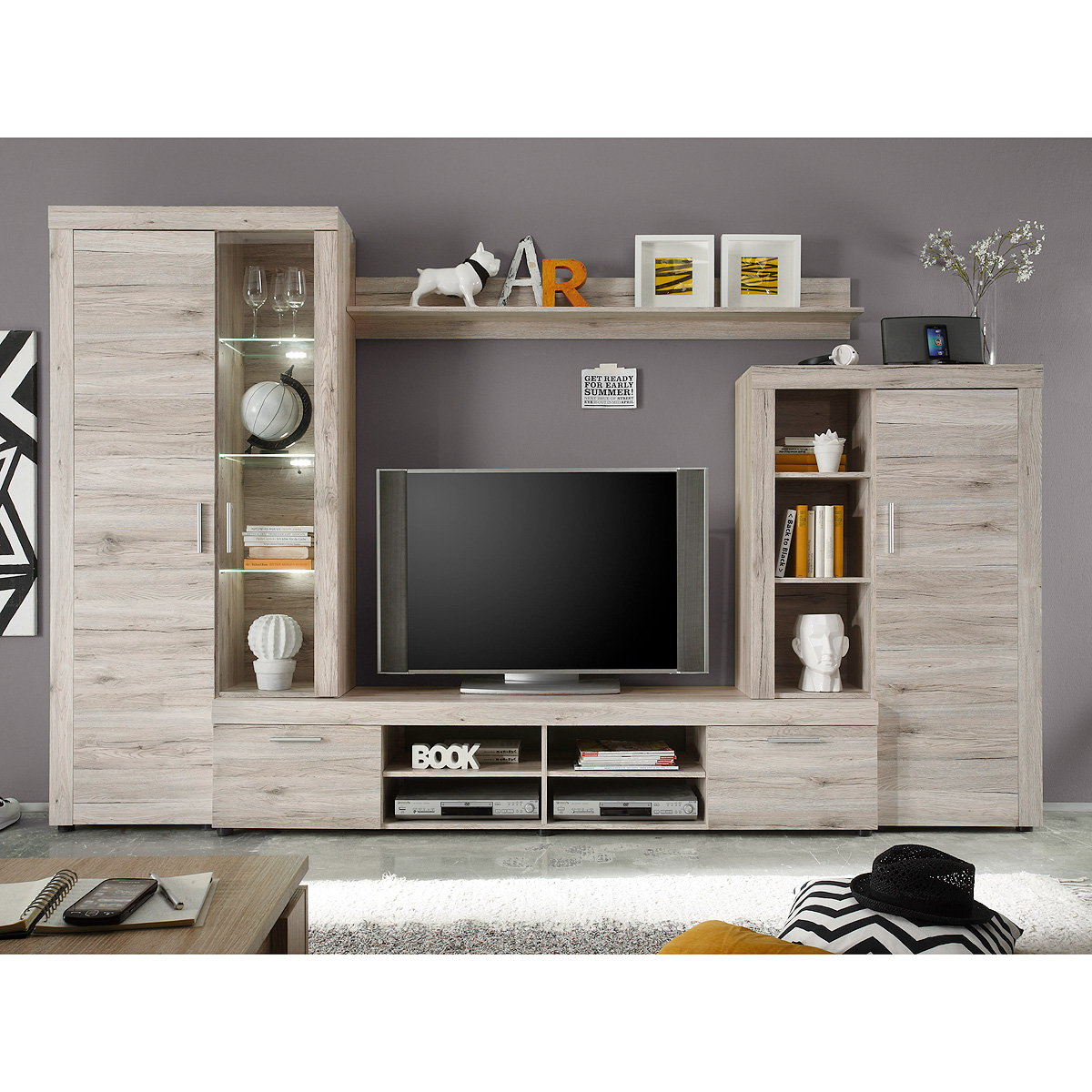 wohnwand fiesta anbauwand wohnzimmer in sandeiche mit beleuchtung eur 239 95 picclick de. Black Bedroom Furniture Sets. Home Design Ideas