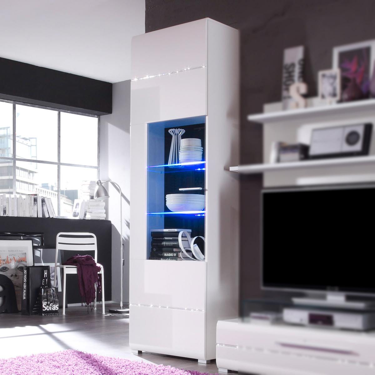 vitrine speed front hochglanz wei wohnzimmer vitrine mit strass glitzer optik ebay. Black Bedroom Furniture Sets. Home Design Ideas