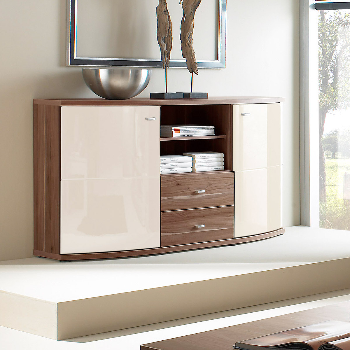 sideboard kentucky kommode anrichte kernnussbaum creme hochglanz ebay. Black Bedroom Furniture Sets. Home Design Ideas