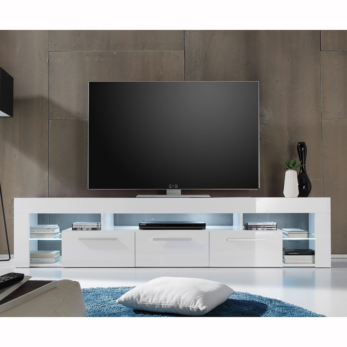 lowboard score kommode tv board in wei hochglanz breite 200 cm eur 227 95 picclick de. Black Bedroom Furniture Sets. Home Design Ideas