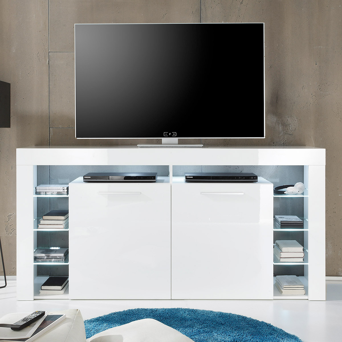 sideboard score highboard kommode tv board wei hochglanz 179 cm ebay. Black Bedroom Furniture Sets. Home Design Ideas