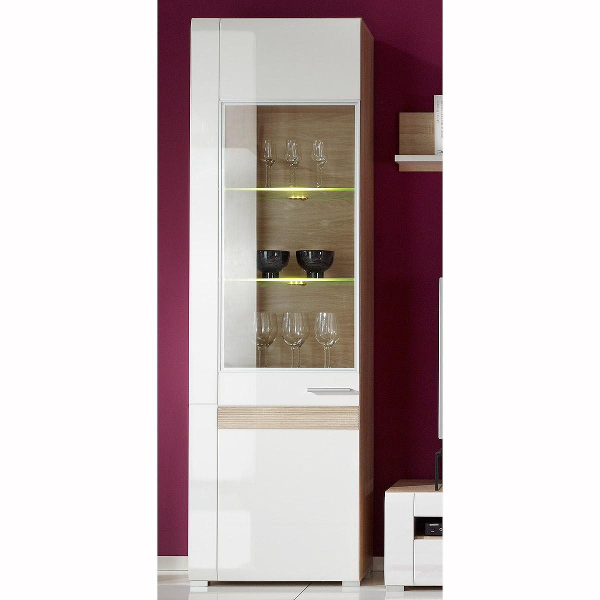 vitrine ambiento schrank wei hochglanz eiche s gerau hell. Black Bedroom Furniture Sets. Home Design Ideas