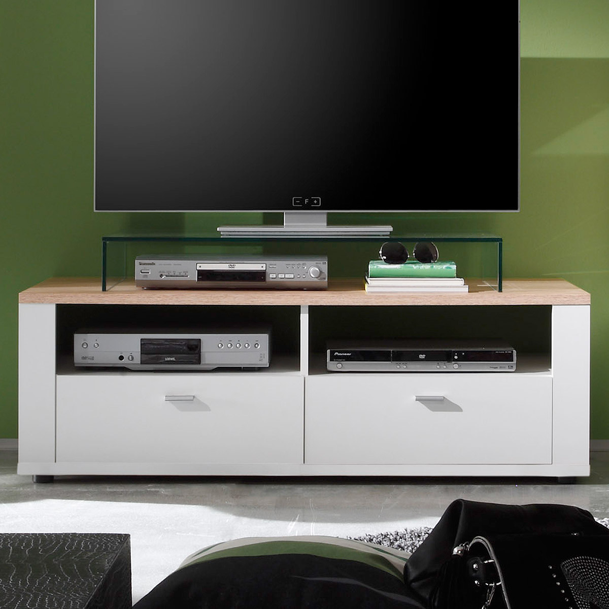 tv unterteil campus lowboard schrank eiche s gerau hell und wei ebay. Black Bedroom Furniture Sets. Home Design Ideas