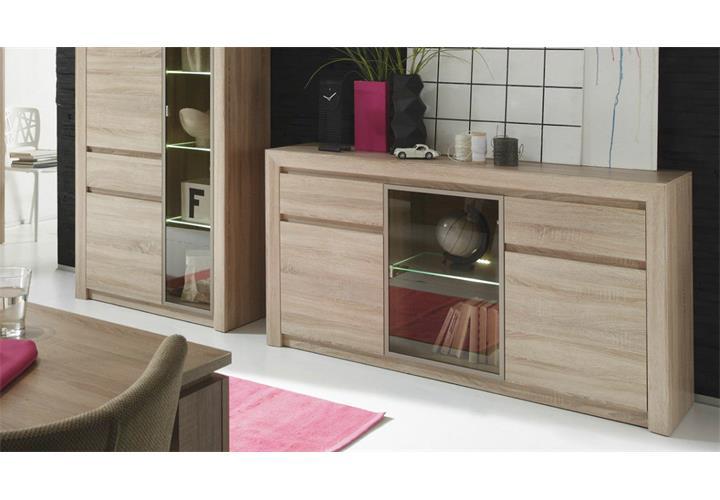 sideboard sevilla anrichte wohnzimmer schrank sonoma eiche glas bronze mit led ebay. Black Bedroom Furniture Sets. Home Design Ideas