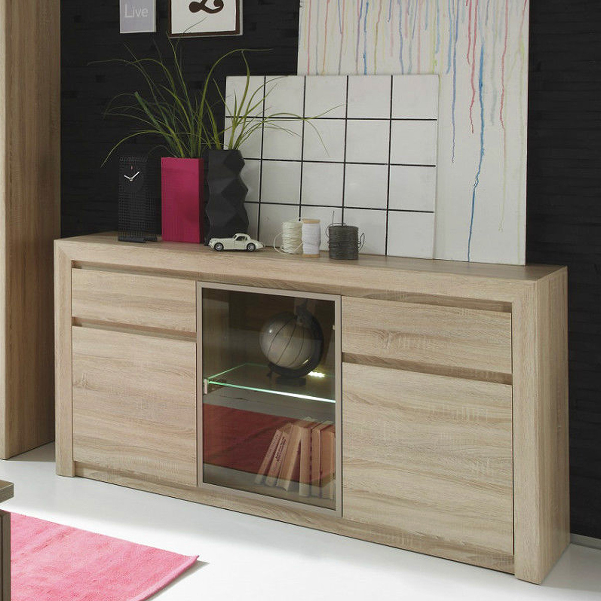 sideboard sevilla anrichte wohnzimmer schrank sonoma eiche glas bronze mit led ebay. Black Bedroom Furniture Sets. Home Design Ideas