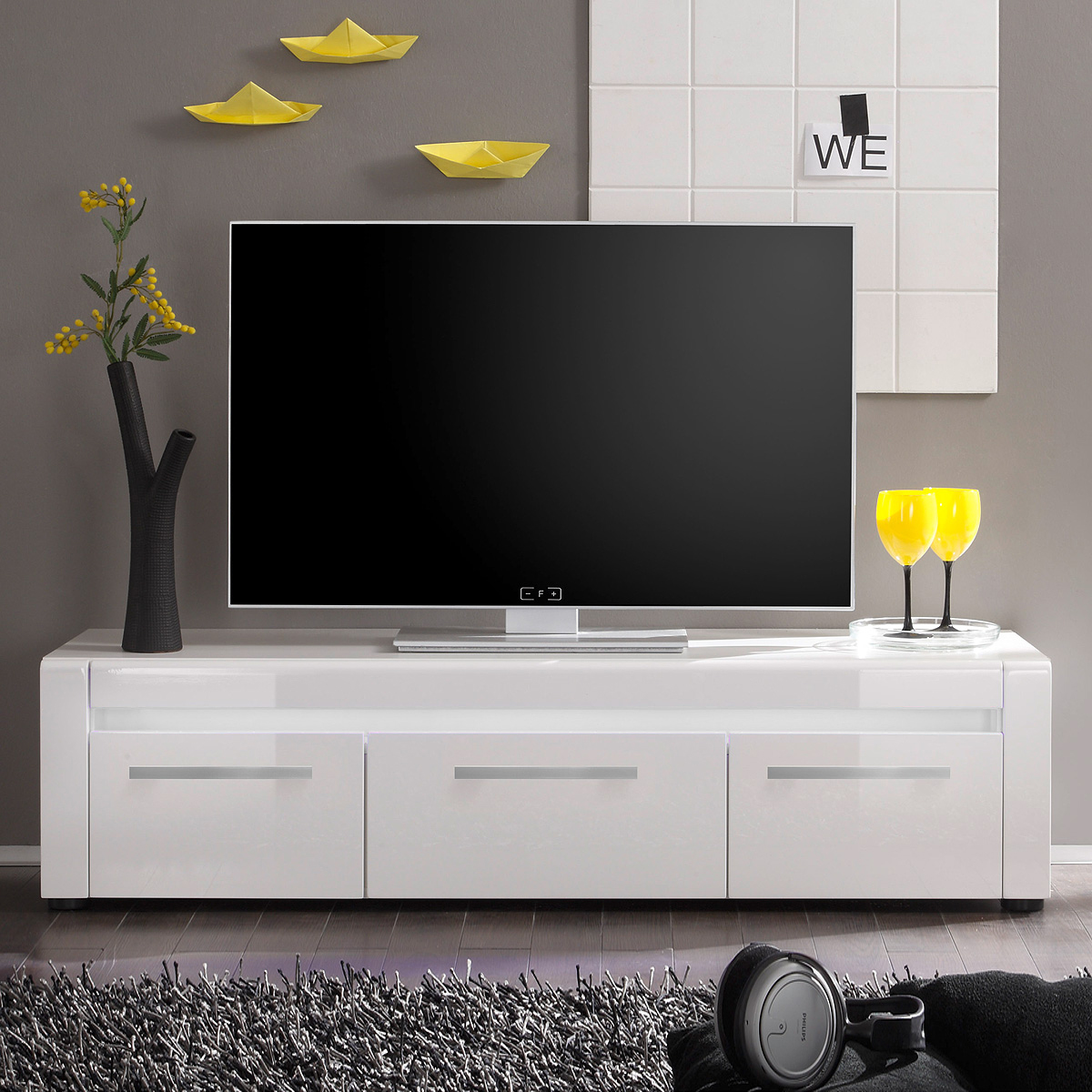 tv board lowboard tommy fernsehtisch wei hochglanz tiefzieh. Black Bedroom Furniture Sets. Home Design Ideas