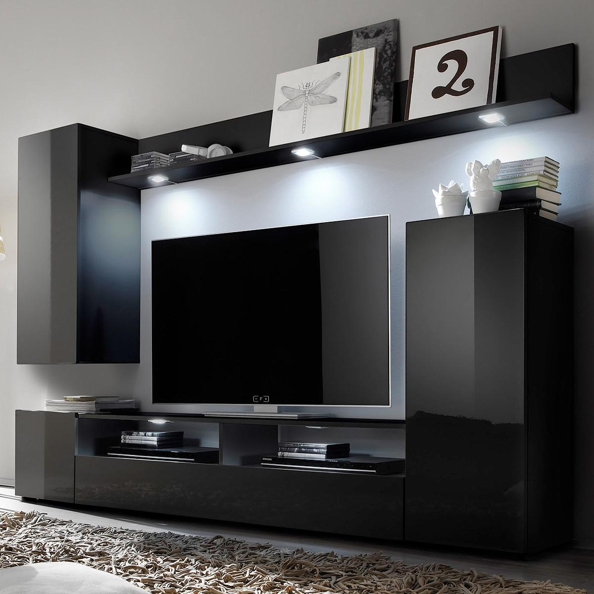 wohnwand dos anbauwand wohnkombi wohnzimmer front hochglanz farbe w hlbar ebay. Black Bedroom Furniture Sets. Home Design Ideas