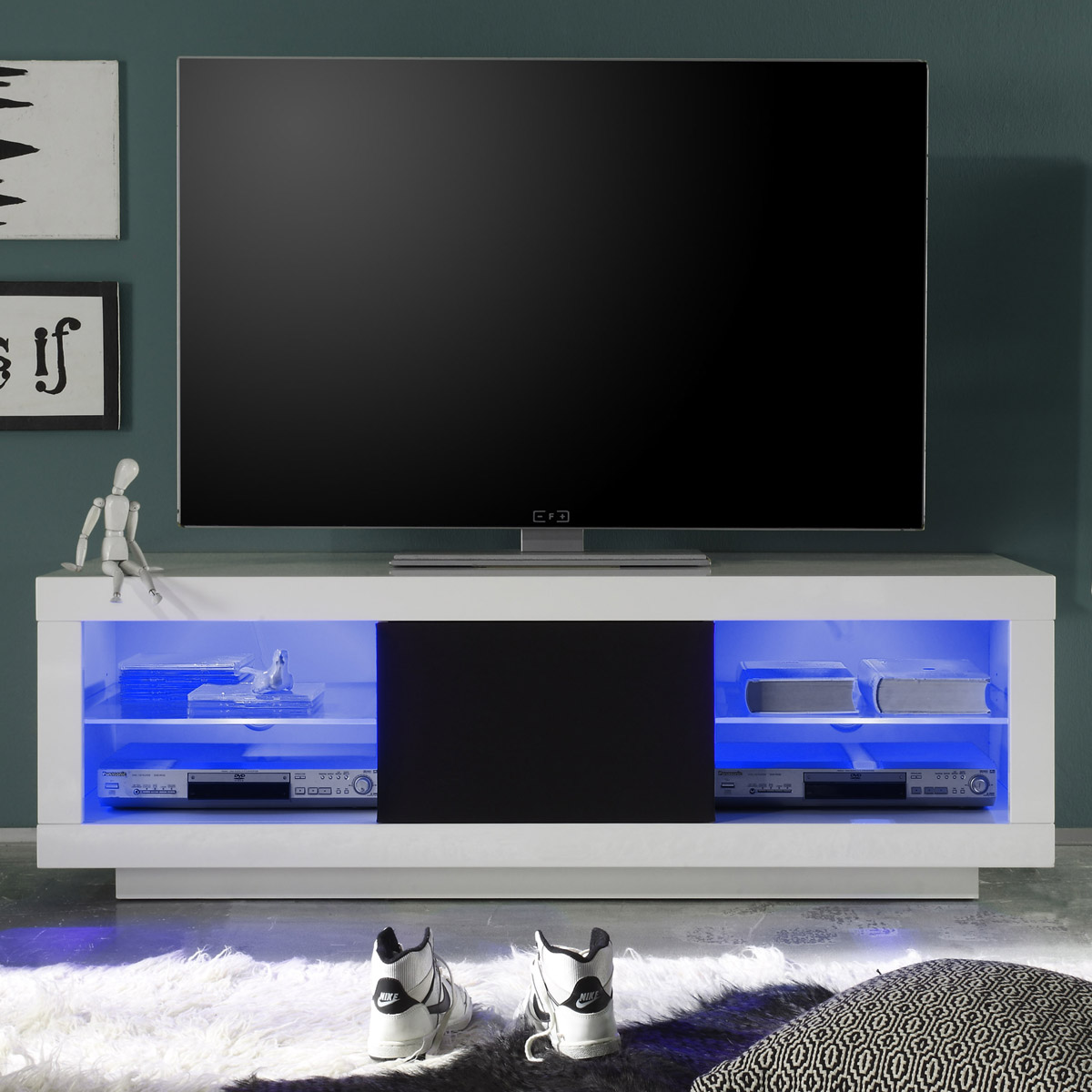 TV-Lowboard Padua, weiß hochglanz, TV-Schrank. Fernsehschrank, TV ...