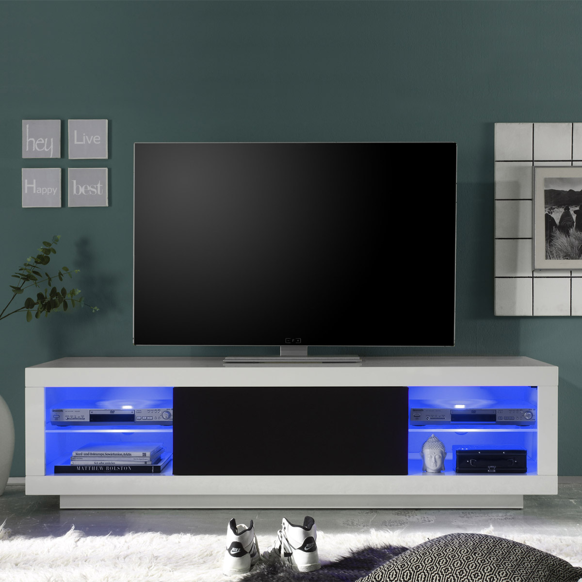 tv lowboard padua tv element unterteil mediaboard wei hochglanz 180 cm. Black Bedroom Furniture Sets. Home Design Ideas