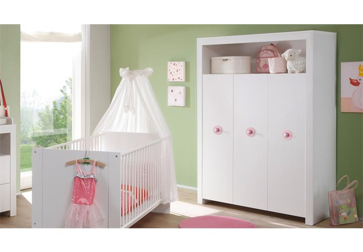 babyzimmer baby set olivia in wei rosa 5 teilig wickelkommode babybett schrank ebay. Black Bedroom Furniture Sets. Home Design Ideas