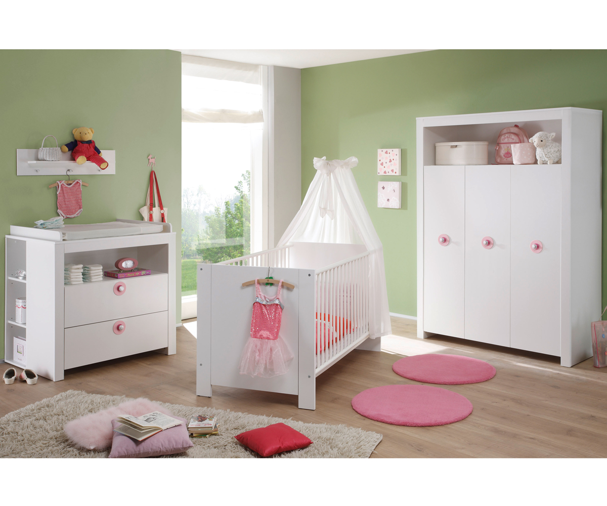 babyzimmer baby set olivia in wei rosa 5 teilig wickelkommode babybett schrank ebay. Black Bedroom Furniture Sets. Home Design Ideas