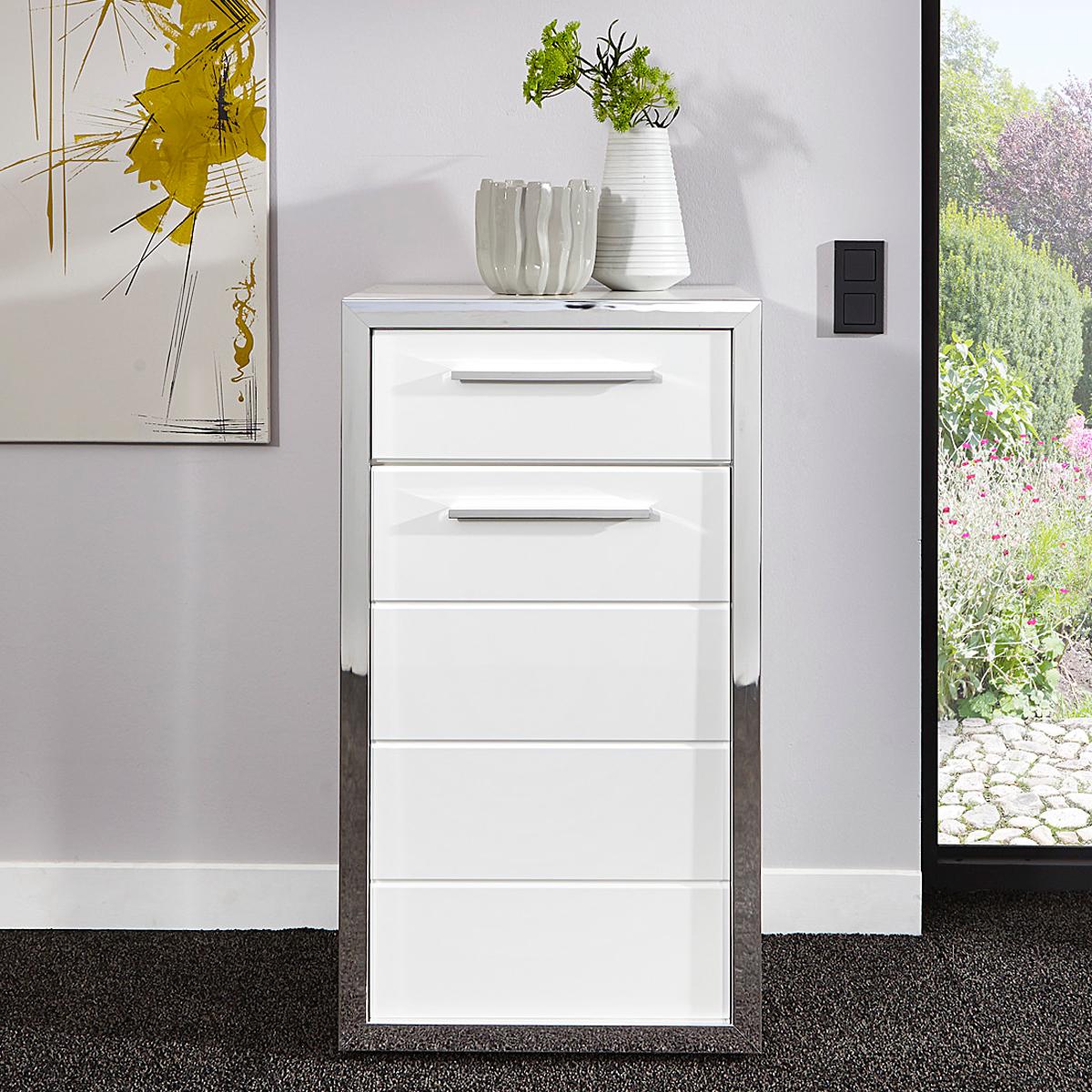 kommode ego 1 t rig schrank wei hochglanz rahmen chromgl nzend ebay. Black Bedroom Furniture Sets. Home Design Ideas