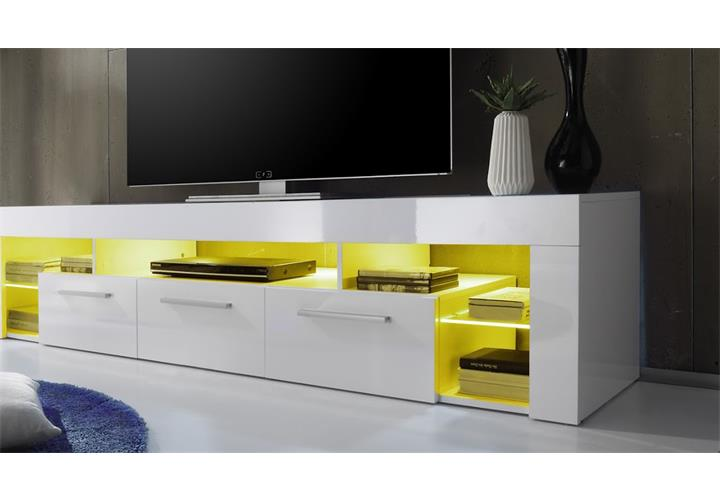 lowboard score kommode tv board in wei hochglanz breite 200 cm led ebay. Black Bedroom Furniture Sets. Home Design Ideas