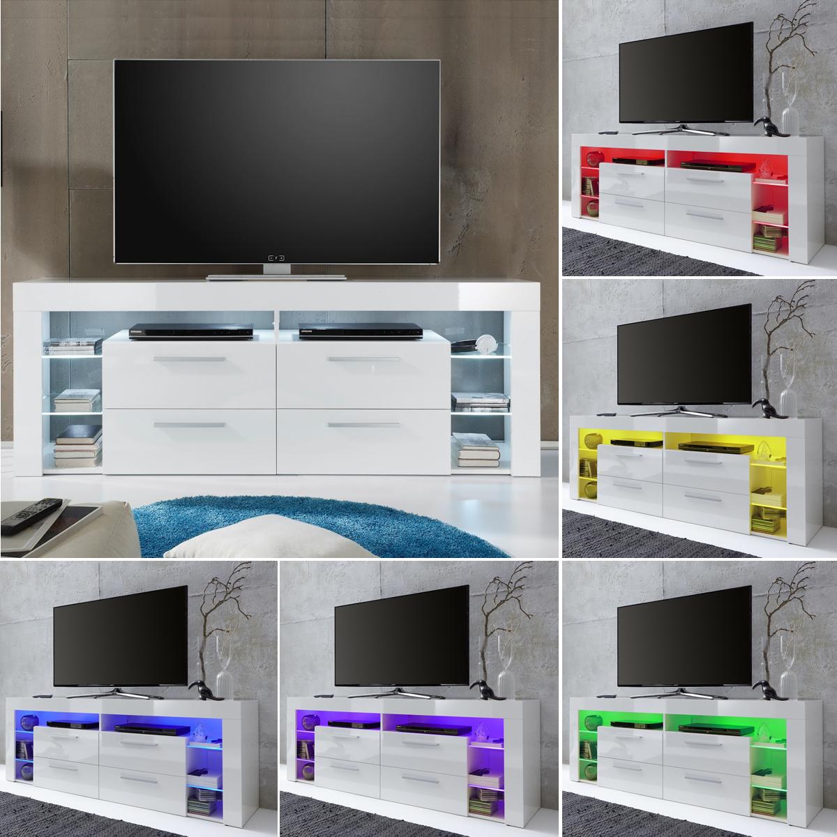 TV Board Score Lowboard TV Unterteil in weiß hochglanz Breite 179 ...