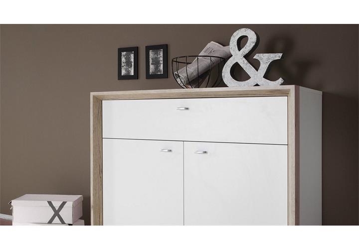 kommode no limit flurschrank wei rahmen eiche san remo 2 t rig 1 schubkasten ebay. Black Bedroom Furniture Sets. Home Design Ideas