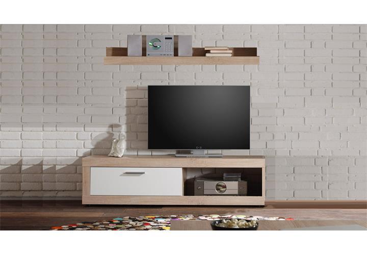 tv board ocean lowboard sonoma eiche wei fernsehtisch mit wandregal f r cd s eur 49 95. Black Bedroom Furniture Sets. Home Design Ideas
