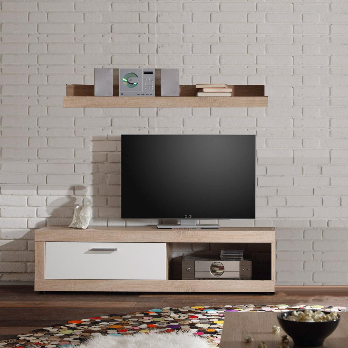 tv board ocean lowboard sonoma eiche wei fernsehtisch mit wandregal f r cd s ebay. Black Bedroom Furniture Sets. Home Design Ideas