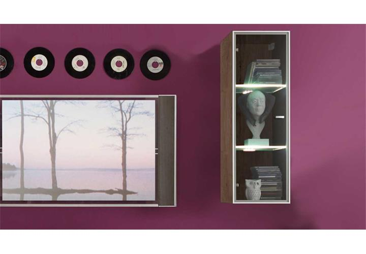 h ngevitrine tetis h ngeschrank vitrine san remo eiche mit glast r ebay. Black Bedroom Furniture Sets. Home Design Ideas