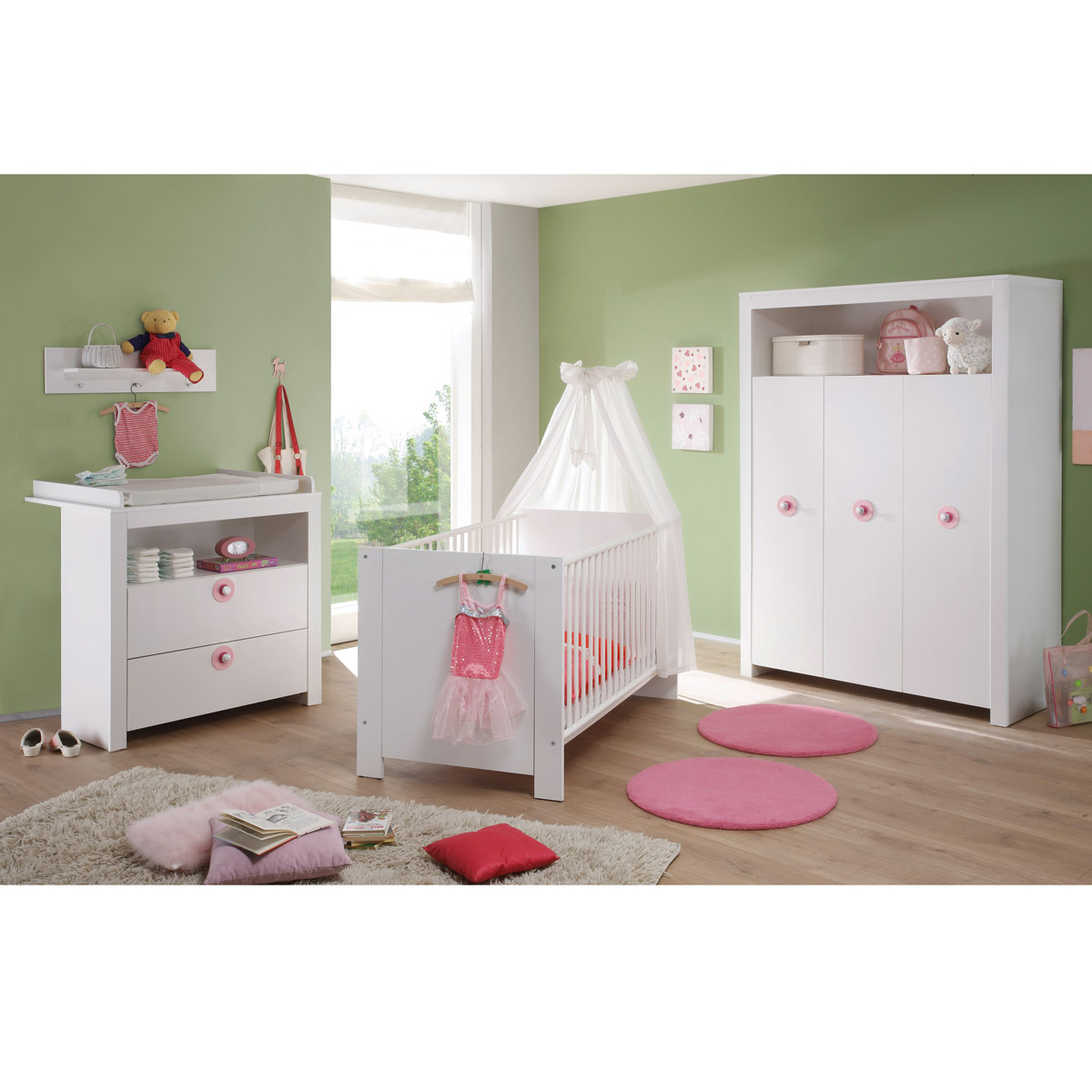 babyzimmer olivia wickelkommode babybett kleiderschrank kinderzimmer gs gepr ft ebay. Black Bedroom Furniture Sets. Home Design Ideas