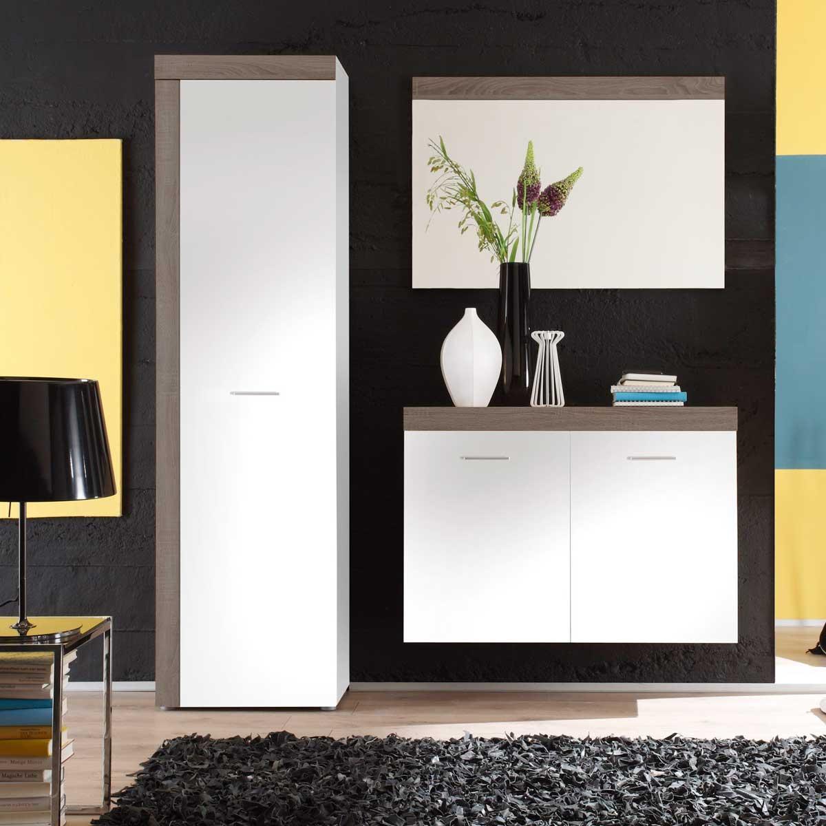 garderobe road flur dielenm bel garderobenschrank set in wei oder eiche s gerau ebay. Black Bedroom Furniture Sets. Home Design Ideas
