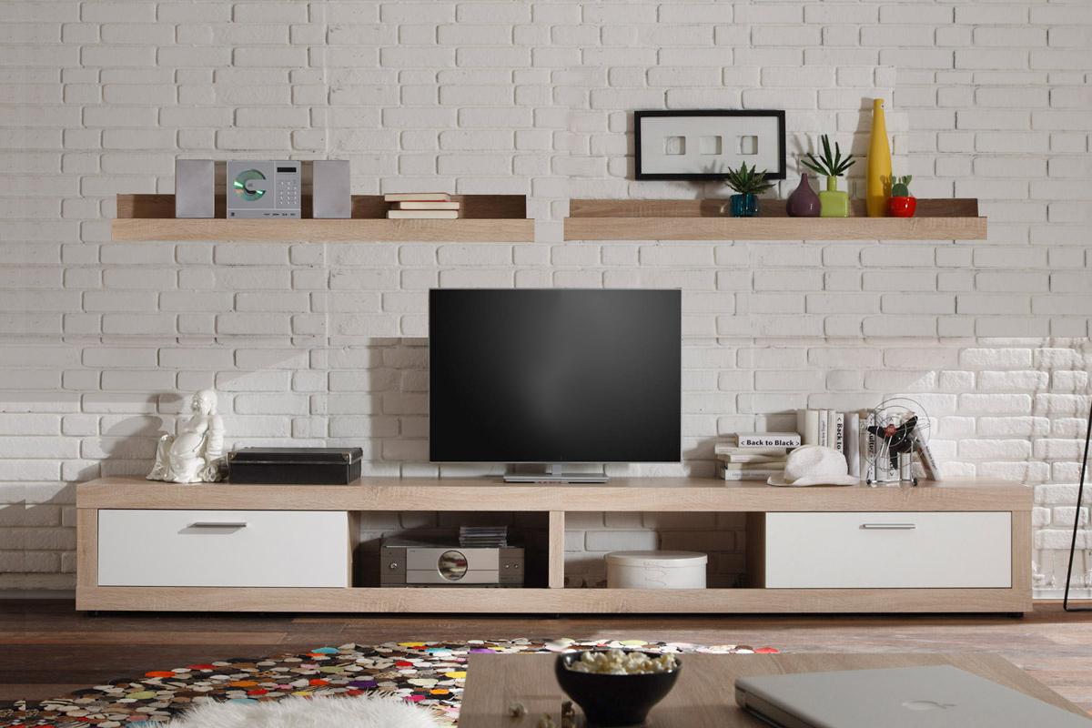 wohnkombination tv board ocean lowboard eiche sonoma wei wandregal f r cd s ebay. Black Bedroom Furniture Sets. Home Design Ideas