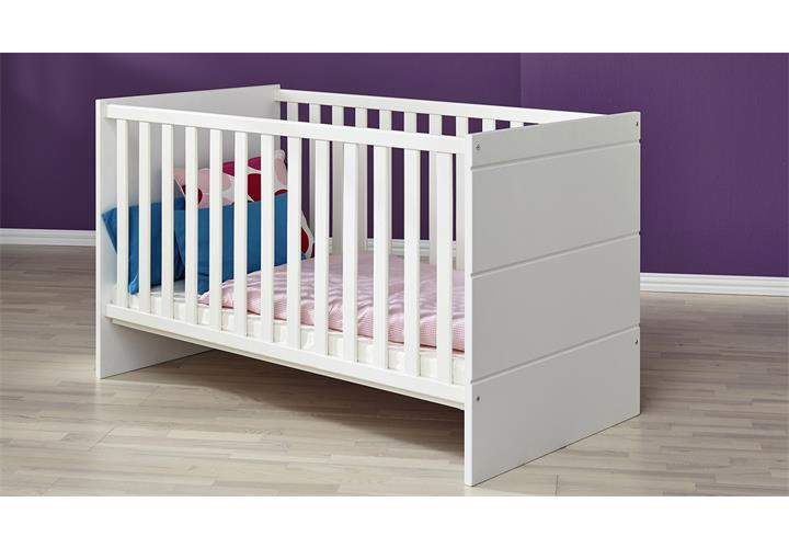 babybett luccas kinderbett bett wei matt mit schlupfsprossen 70x140 cm ebay. Black Bedroom Furniture Sets. Home Design Ideas