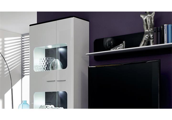 wohnwand locky wei hochglanz und absetzungen schwarz inkl led ebay. Black Bedroom Furniture Sets. Home Design Ideas