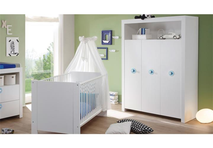 babyzimmer baby set olivia in wei mit blau 5 teilig wickelkommode sprossenbett ebay. Black Bedroom Furniture Sets. Home Design Ideas