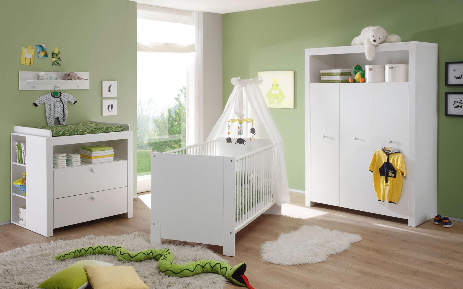 Babyzimmer set olivia kinderzimmer babymöbel komplett in weiß 3 ...