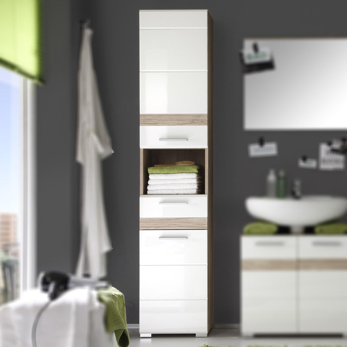 bad hochschrank setone in eiche san remo und wei hochglanz badschrank badm bel ebay. Black Bedroom Furniture Sets. Home Design Ideas