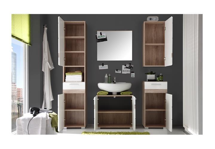 badezimmer setone 5 tlg in wei hochglanz und eiche san remo hell badm bel bad ebay. Black Bedroom Furniture Sets. Home Design Ideas