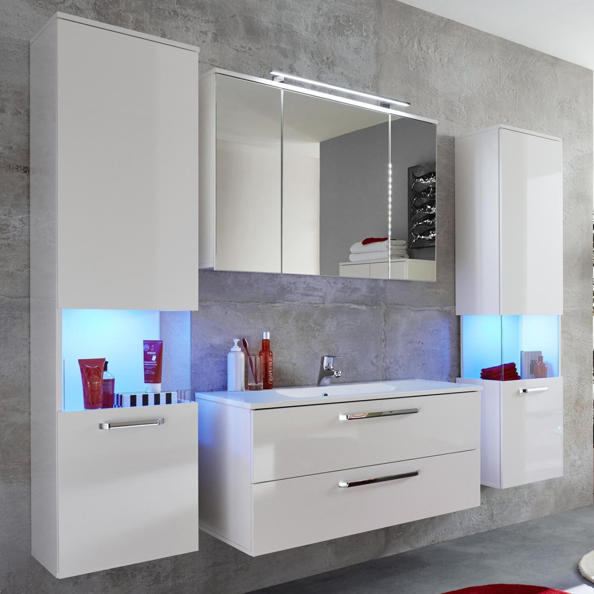 badezimmer set sky badm bel wei hochglanz bad inklusive waschbecken badschr nke ebay. Black Bedroom Furniture Sets. Home Design Ideas